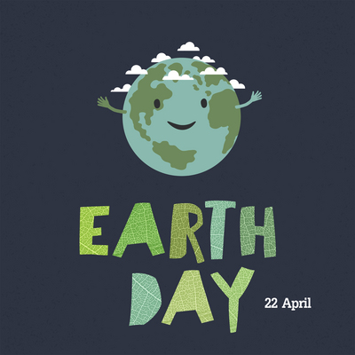 """Earth day, 22 April. """"Save our home"""". Cartoon Earth illustration. Ecology concept. Leaf cut letters."""